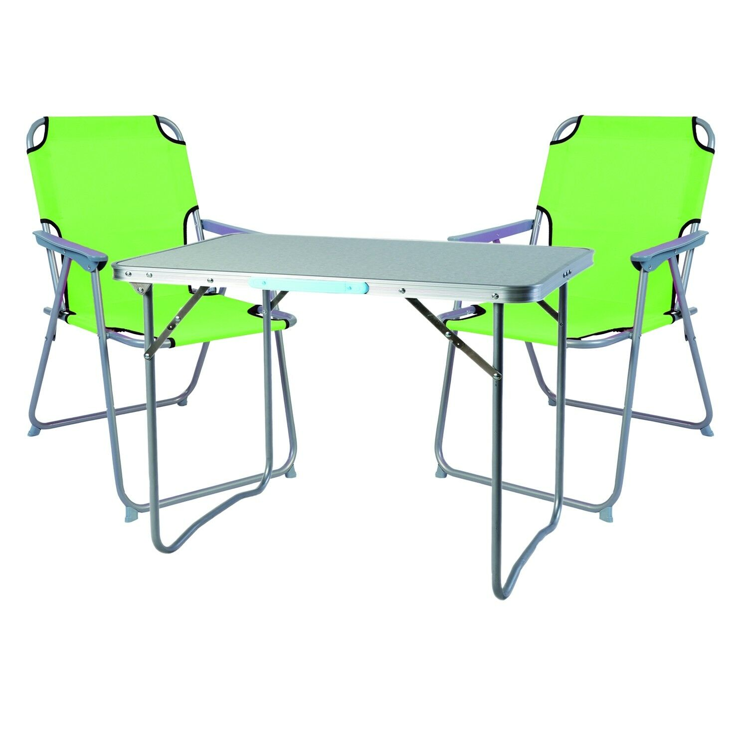 3 Piece Camping Furniture Set Aluminium With Carry Handle Camping Lime-Grün l70xb50xh59cm
