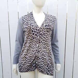 Chicos-3-Womens-XL-Animal-Print-Cardigan-Sweater-Brown-Leopard-Gray-Rhinestones