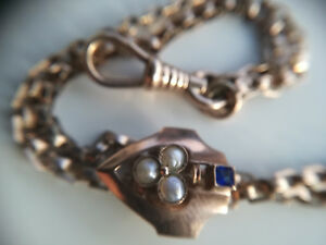 Treu Damen-uhrkette Gold 333 Dunkelblauer Saphir Und 3 Perlen 18,7 Gramm 2 X 73cm