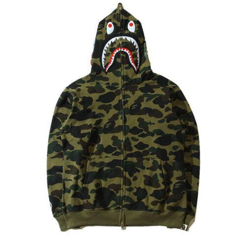 2019 Bathing ape Bape Shark Jaw Camo Full Zipper Hoodie Men/'s Sweats Coat Jacket