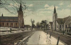 Shelton-CT-Churches-amp-Street-c1910-Postcard