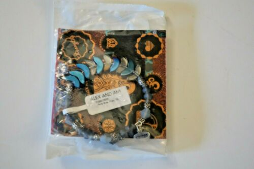 Alex and Ani Deity Blue River Wrap Bracelet Logo Expandable Wire Silver Tone