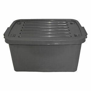 1 st plastikbox mit deckel 45 liter grau stapelbox. Black Bedroom Furniture Sets. Home Design Ideas