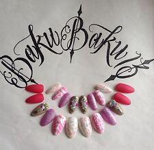 Pintado a Mano clavos falsos Almendra Brillo Rosa Blanco Cubierta Completa de Arte en Uñas Puntas