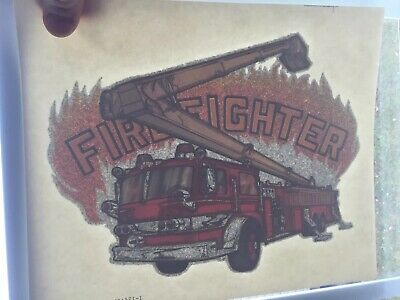 Ready To Press Crafting Supply Vintage Truck Yellow Fireman Sublimation Transfer Fire Shirt Transfer Fire Fighter Heat Transfer