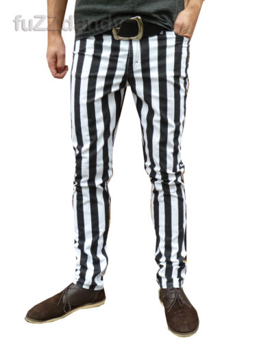 Pantaloni uomo Drainpipe Jeans Skinny Vintage Indie Mod a Righe Nero Bianco Hipster