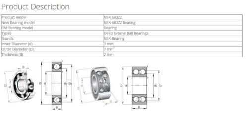 NSK 683ZZ Deep Groove Ball Bearings 3x7x2mm