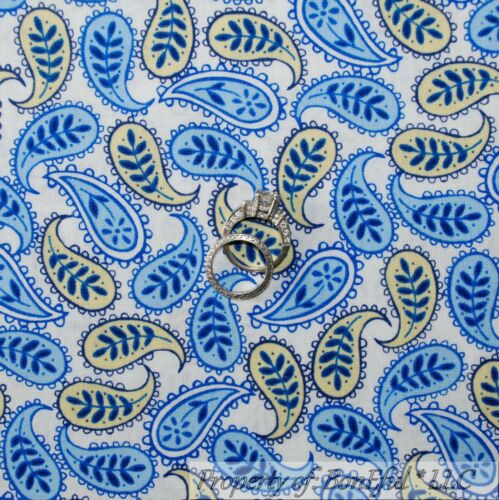 BonEful Fabric FQ Cotton Quilt White Blue Green Flower Chantilly Lace Paisley Sm