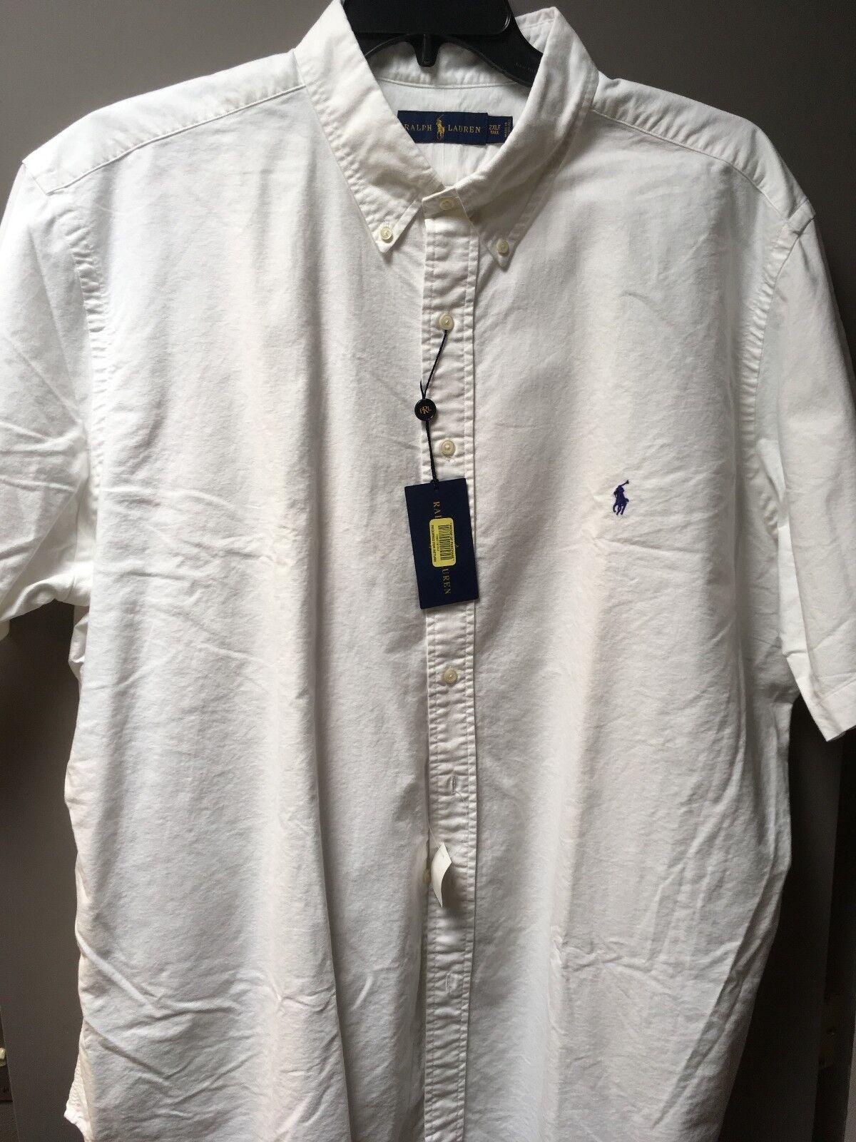 Ralph Lauren Men's SS 2XLT Cotton Shirt White w Navy Pony  NWT