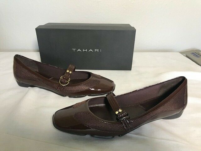 TAHARI Glossy Dark Brown CHET Dressy Leather Ballet Flats shoes 9 M NEW IN BOX