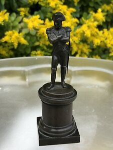 Antique-19C-Collectable-Miniature-Bronze-Figure-Of-Napoleon-Bonaparte-On-Plinth