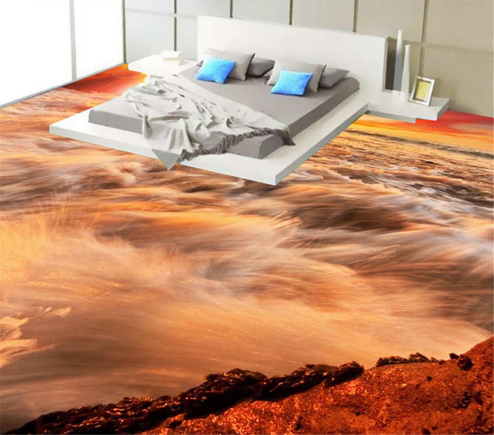 Der Rote Himmel 3D Fußboden Wandgemälde Foto Bodenbelag Tapete Zuhause Dekoratio