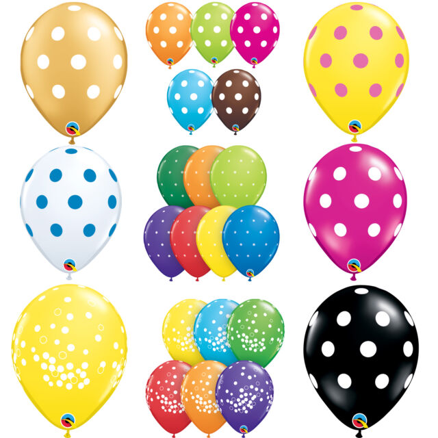 Qualatex Polka Dot Latex Party Balloons (Helium or Air) Birthday Decoration