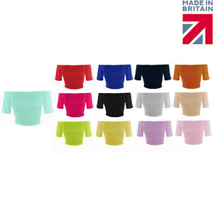 New-Womens-Off-The-Shoulder-Elasticated-Neck-Plain-Short-Sleeve-Crop-Top