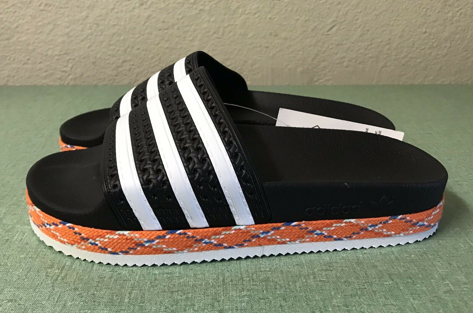 Adidas New Sandals Slides Core Black White Women's Sz 6
