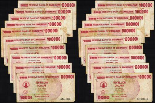 20 x 10 Million Zimbabwe Dollars Banknotes 2008 Currency Circulated Bundle 20PCS