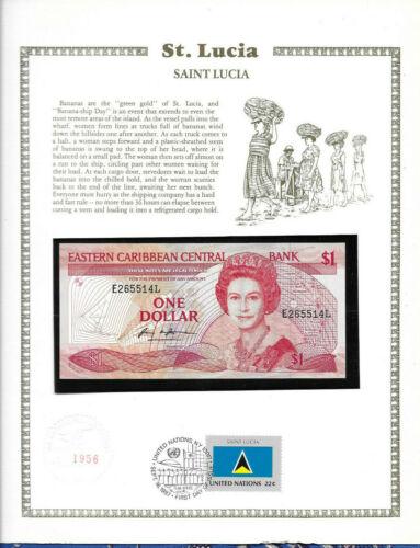 Lucia East Caribbean Banknote 1 Dollar 1988 P 21l  UNC  w//FDI UN FLAG STAMP St