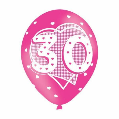 6pk Happy 30th Anniversaire Latex Ballons Fille Rose Hélium Air Fill Pack de 6
