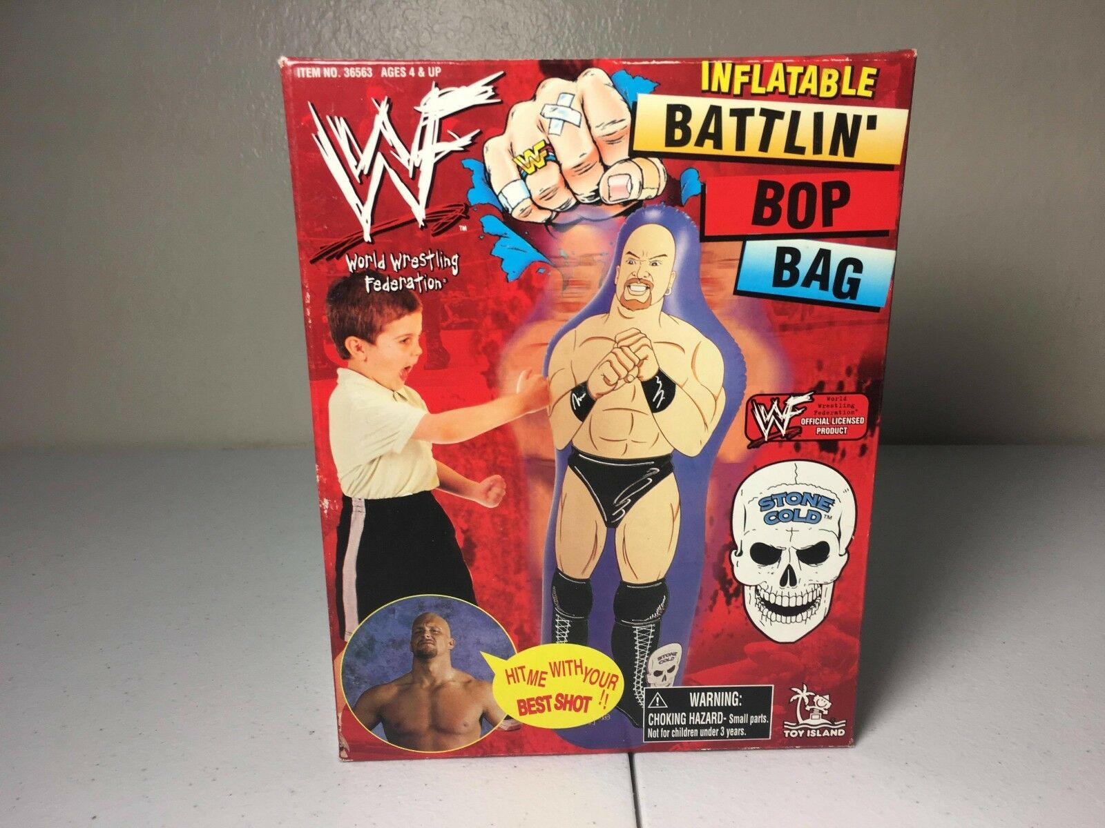 WWF WWE 1999 Stone Cold Steve Austin - Battlin Bop Bag Inflatable Large NIB
