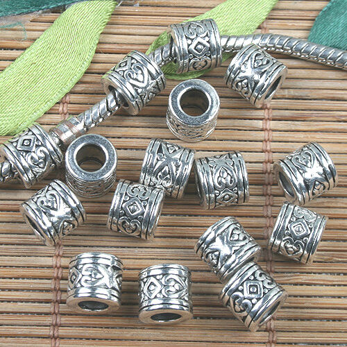 Tibetan Silver color round heart pattern spacer beads 30pcs EF0133