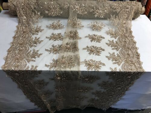 """Skin Gold Beaded Fabric By Yard Embroidery Beads Fabric Lace Wedding Dress 50"""""""