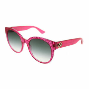 0c610a11195 Details about Gucci GG0035S 005 Pink Glitter Plastic Round Sunglasses Green  Gradient Lens