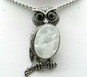 Natural-crystal-Gem-beads-animal-Owl-Retro-Silver-Pendant-necklace-Jewelry-P1