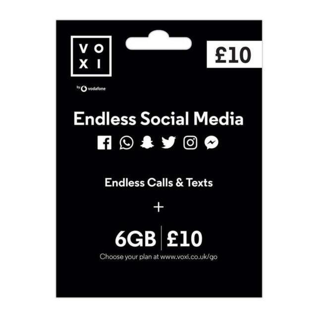 Voxi Sim Card Endless Social Media 6gb For 4g Nano Micro Payg Vodafone For Sale Online Ebay