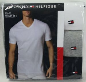Tommy Hilfiger 3 pack White Grey Navy Blue Classic V-Neck T-shirts Tee NWT