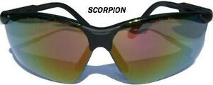 GATEWAY-039-s-SCORPION-SAFETY-GLASSES-W-RED-MIRROR-LENS-BLK-FRAME-amp-RETAINER