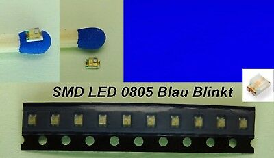 10 Stück SMD LED 0805 Blau Blinkend Flash Flashing Blaulicht Blinklicht C2853
