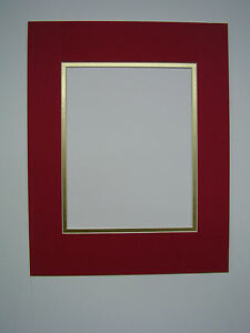 Picture Framing Mats 20x24 Mat For 16x20 Photo Red With Shiny Gold