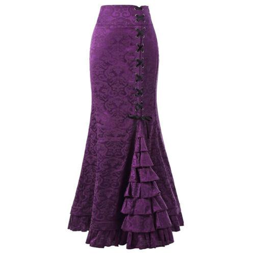 Women Punk Style Retro Mermaid Skirt Vintage Long Bodycon Ruffle Fishtail Skirt