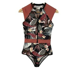 Body Glove Zip Front Paddle One Piece Swimsuit Black Rust Leaf Floral S Small