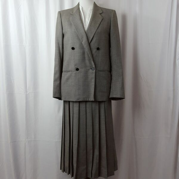 Nordstrom Women S Suit Size 6 Wool Double Breasted And Pleated Skirt