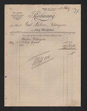 BAKEDE, Rechnung 1911 A. Westphal Herstellung von geschmiedeten Schaufeln Spaten