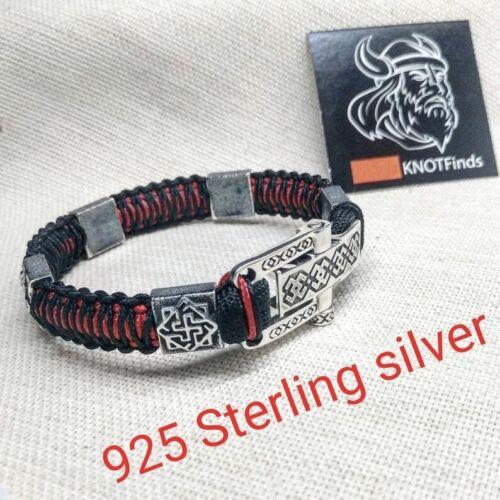 Paracord bracelet Viking style. Silver 925 Sterling bracelet