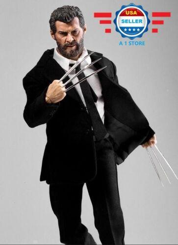 Custom 1/6 Scale Logan Wolverine complet Figure Complète Costume Noir Set avec griffes