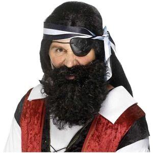 Hommes Pirate Facial Cheveux Kit Noir Barbe Moustache Déguisement Accessoire