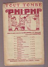Partition Ancienne Phi Phi tout tombe - etat correct