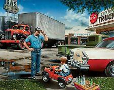 "Semi Truck Driver Poster Art Print Mack Route 66 Vintage Parts 11""x14"" MVP332"