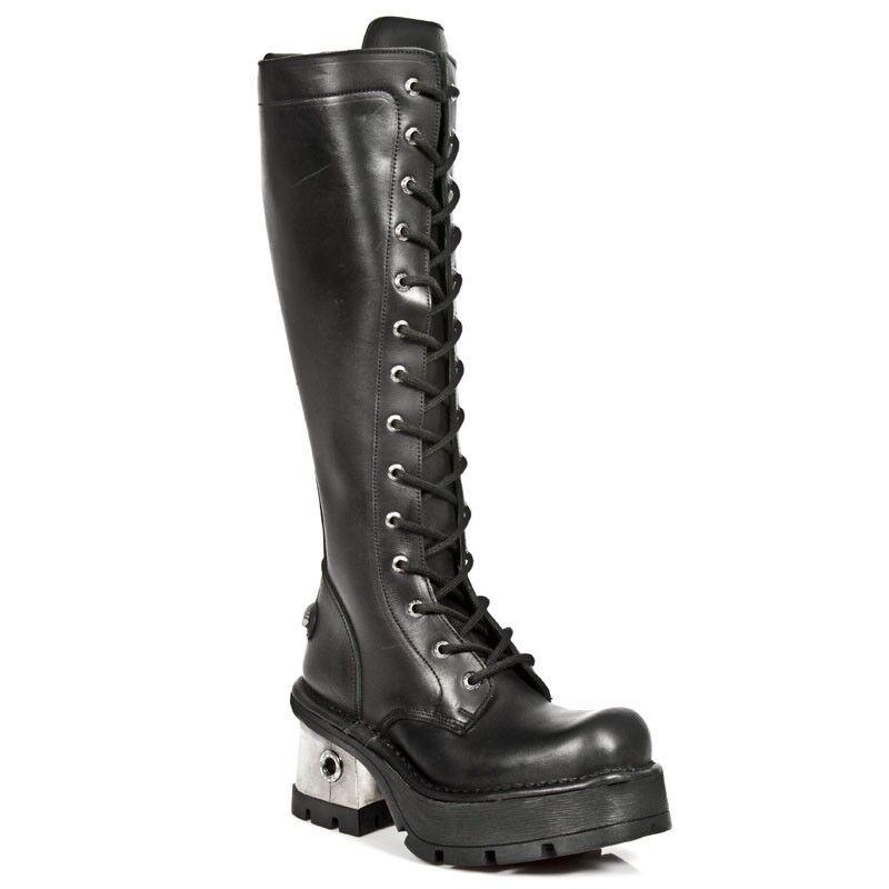 New Rock M.236-S1 Ladies Black Leather Metal Heel Platform Knee Lace Boot