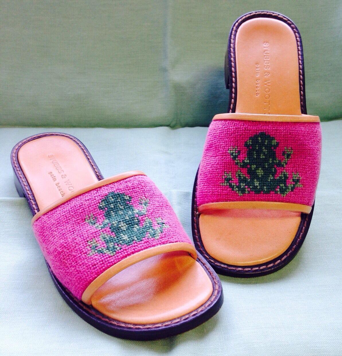 Stubbs & Wooten Palm Beach Italian Pink Frog Needlepoint Leather Sandals 5-1 2