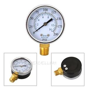 1-4-034-NPT-0-200PSI-Filter-Air-Compressor-Hydraulic-Pressure-Dial-Gauge-Back-Mount