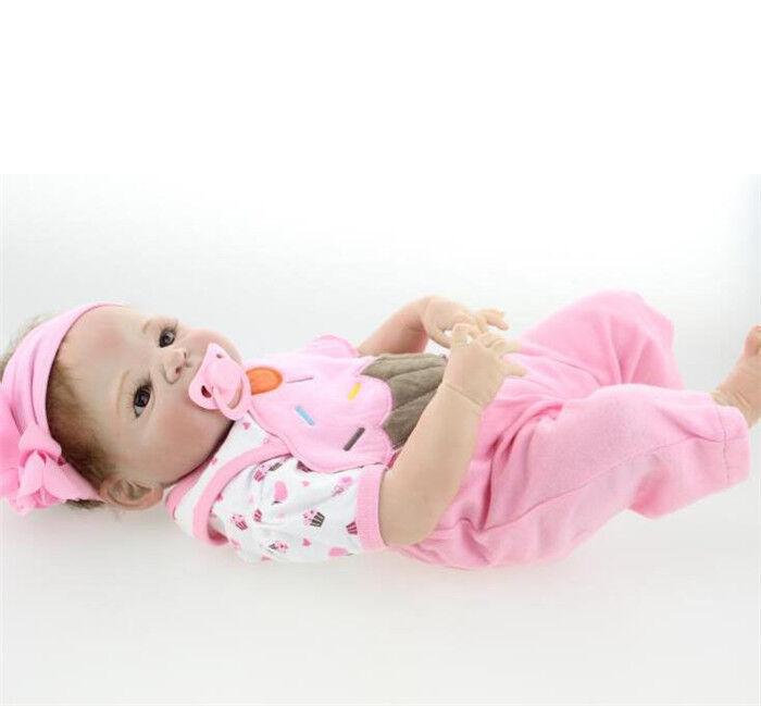 23  Girl Doll Handmade Full Body Silicone Reborn Baby Soft Newborn Bath Toys new