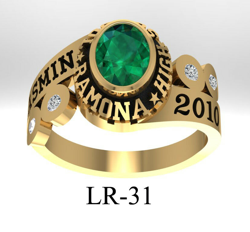 Personalized 14K gold High School,College,University Graduate Ring   LR31