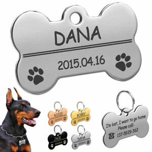 Personalised-Dog-Tags-Bone-Disc-Disk-Pet-ID-Name-Collar-Tag-Engraved-Silver-Gold