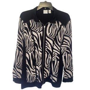 Zenergy By Chicos Womens Jacket Black Ivory Zebra Zip Up Long Sleeve Size Lg/12