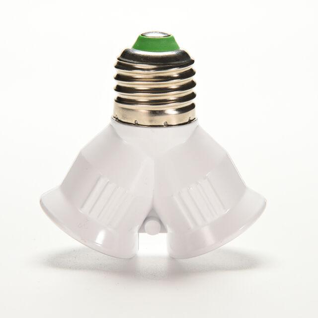 Screw E27 LED Base Light Lamp Bulb Socket 1 to 2 Splitter Adapter Converter BH