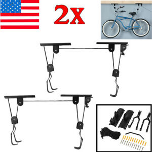 2X Lift Bike Bicycle Ceiling Mount Pulley Hoist Rack Garage Storage Hooks Hanger